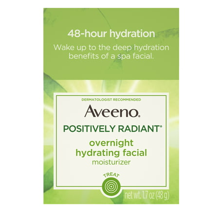 Aveeno Positively Radiant Overnight Moisturizer, Soy Extract, 1.7