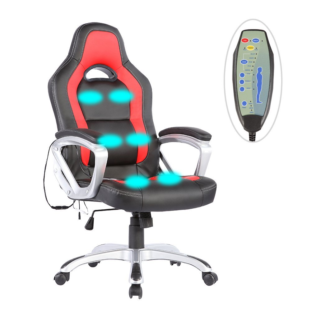 Uenjoy Race Car Computer Office Massage Chair Heated Vibrating Ergonomic PU Leather,Black&Red