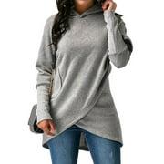 Women Asymmetric Hem Long Sleeve Solid Color Hooded Sweatshirt
