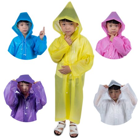 Pink And Yellow Theme (Thickened EVA Rain Ponchos Portable Reusable Raincoat with Hood and Sleeves for Kids Children Boys Girls in Theme Parks Sporting Events Camping Traveling Concerts Or Some)