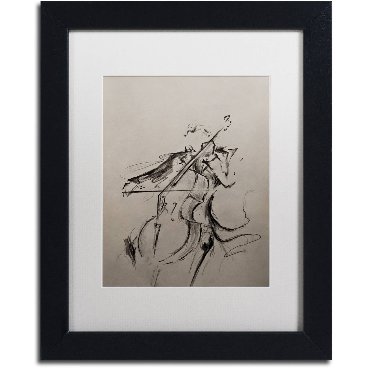 Trademark Fine Art 'The Cellist Sketch' Canvas Art by Marc Allante, White Matte, Black Frame