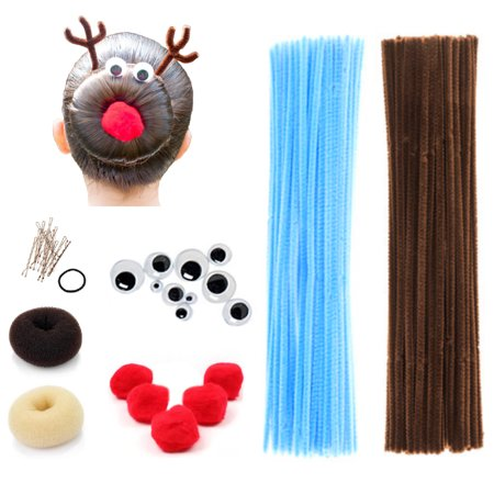 Beaute Galleria - Bundle Creativity Hairstyle Chenille Stems Pipe Cleaners w Pom Pom Hair Donut Googly Eye Hair Pin for Art Crafts Halloween Christmas Spider Reindeer Bun Holiday Hairdo - Hairstyles For Halloween