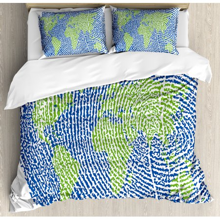 World Map Duvet Cover Set, Map of the World Fingerprint Style Continents  Asia Europe Africa America, Decorative Bedding Set with Pillow Shams, Navy  ...
