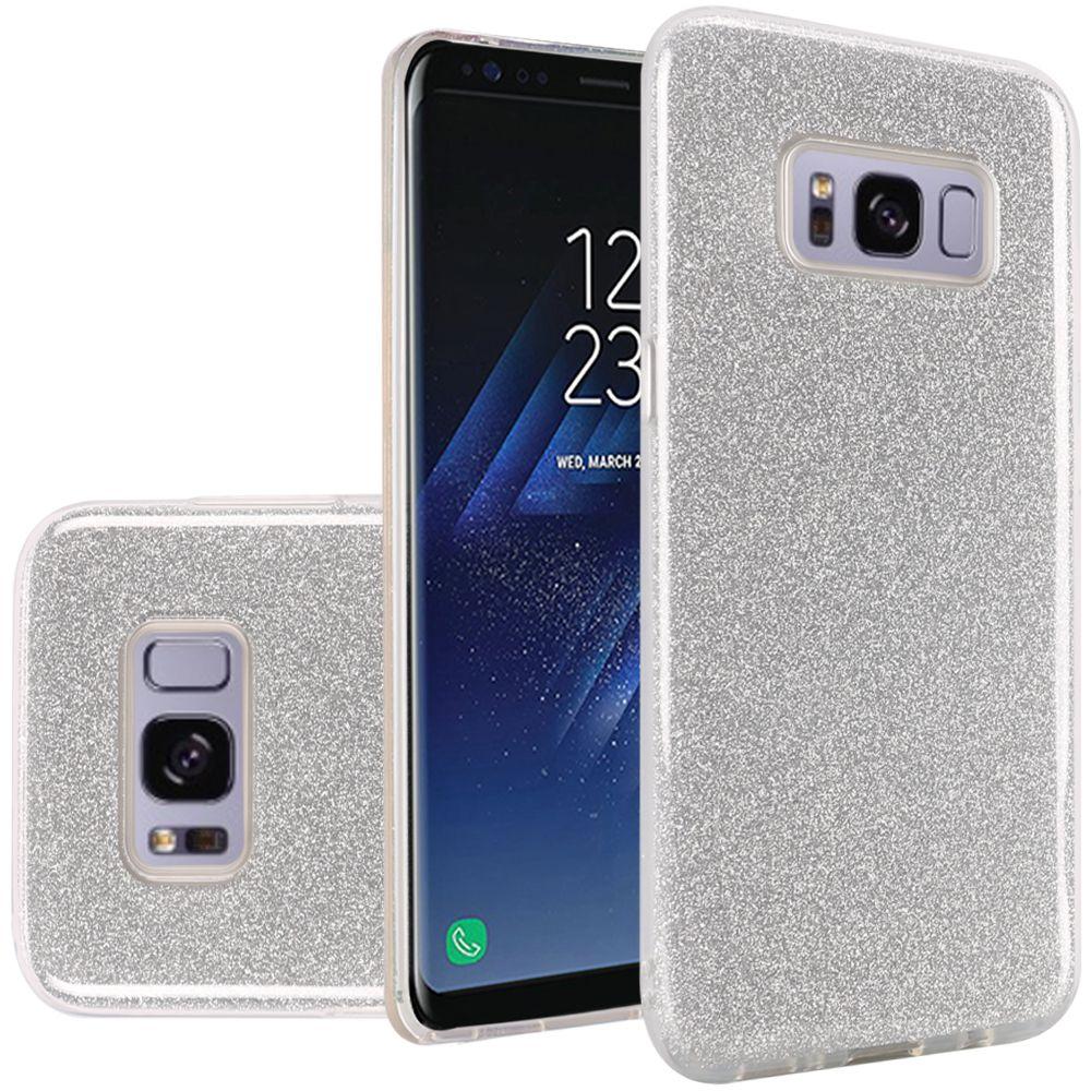 Samsung Galaxy S8 Case - Wydan Slim Hybrid TPU Glitter Shock Resistant Skin Phone Cover Silver