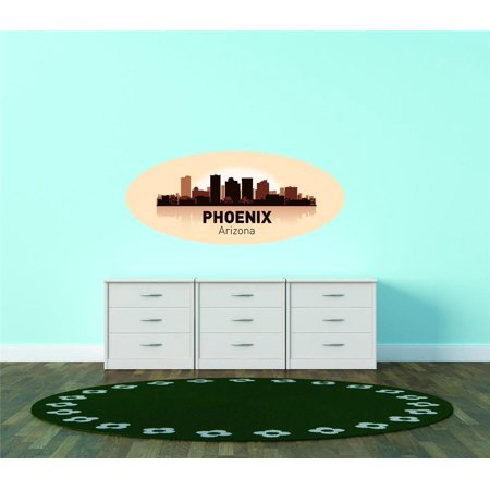 Custom City Wall Map - Custom Wall Decal Phoenix Arizona United States Major City Geographical Map Landmark - Vinyl Wall - 12x20