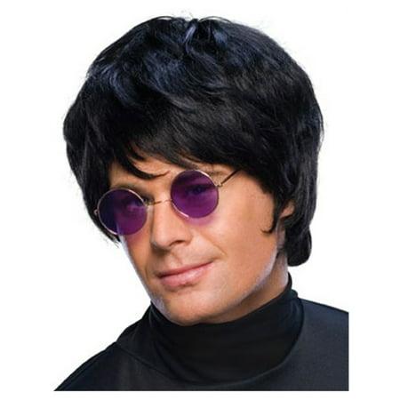 adult mens costume short black pop star beatle mop wig (White Wig Men)