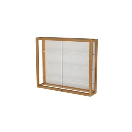 Waddell 890M-WB-H Heirloom 36 x 30 x 8 in. Wall Case with Hardwood 3 Shelves, White Back - Honey Maple