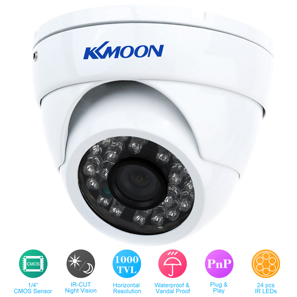 """KKmoon 1000TVL Wide Angle Metal Dome Outdoor CCTV Camera 1/4"""" CMOS for Security System"""