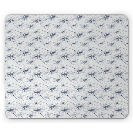 Daisy Mouse Pad, Flower Branches Hand Drawn Blossom Spring Growth Feminine Retro Illustration, Rectangle Non-Slip Rubber Mousepad, Slate Blue Pearl, by Ambesonne ()