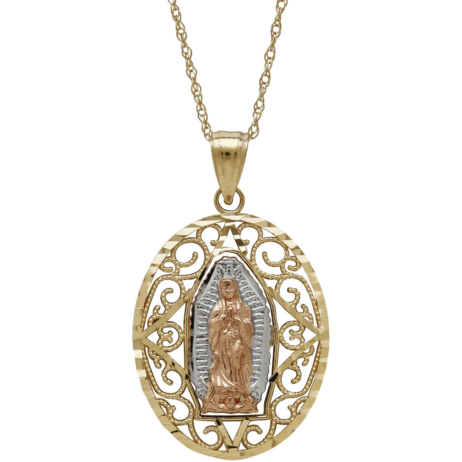 "Simply Gold Precious Sentiments 10kt Yellow, White and Pink Oval Guadalupe Pendant, 18"" by Richline Group Inc"