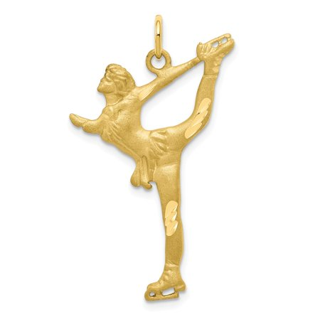 10k Yellow Gold Solid Diamond-Cut Figure Skater Charm