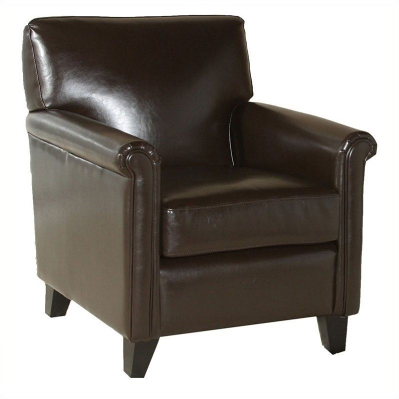 Trent Home Olivier Leather Club Chair in Brown