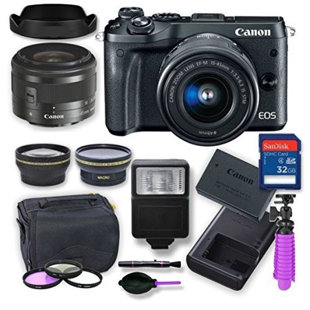Canon EOS M6 Mirrorless Digital Camera Kit with 15-45 mm Canon Lens + Wide Angle and Telephoto lens, Digital Remote Flash, Canon Battery, 32 gig Memory Card, 3 Filter Kit, Case, Tripod & Cleaning