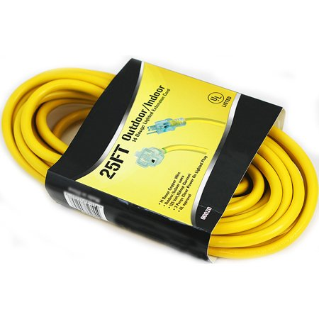 25' 14 Gauge Electric Extension Cord 3 Prong Power Cable In/Outdoor STJW UL GLO