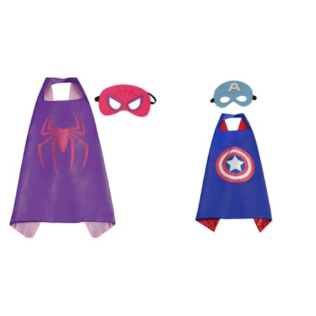 Captain America 2 Outfit (Captain America & Supergirl Costumes - 2 Capes, 2 Masks w/Gift Box by)
