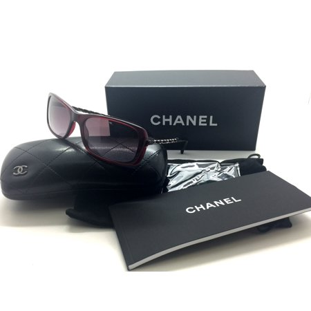 de1ca9557325 CHANEL - Chanel Sunglasses 5209q 539 3l Bordeaux Quilted Leather Chain  Rectangle Auth - Walmart.com