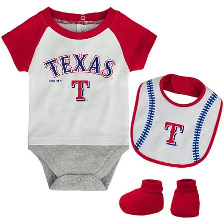 Texas Rangers Newborn Baseball Kid Bodysuit, Bib & Booties Set - (Bib Bootie)