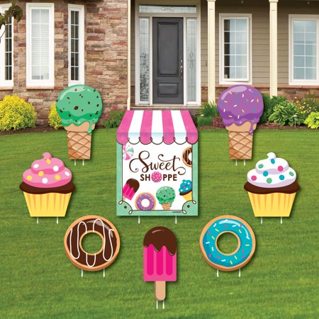Sweet Shoppe - Yard Sign & Outdoor Lawn Decorations - Candy and Bakery Birthday Party or Baby Shower Yard Signs - 8 Ct - Baby Shower Yard Sign