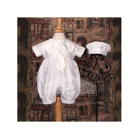 Baby Boys White Silk Sailor Collar Hat Christening Romper Set - Christening Hat