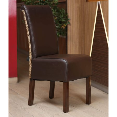 International Caravan  Philip Dark Brown Upholstered Hyacinth Weave Dining Chairs With Mahogany Hardwood Frame  Set Of 2
