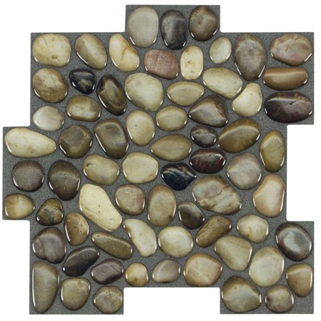 MTO0410 Peel and Stick Pebbles Brown Khaki Beige Glossy Resin Vinyl Mosaic