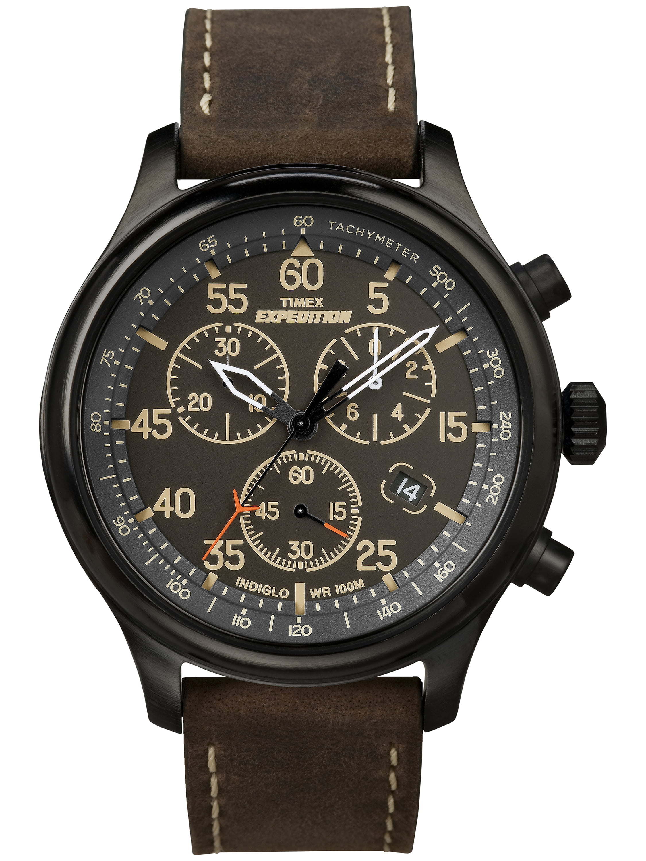 Timex Men's Expedition Field Chronograph Watch, Brown Leather Strap by Timex