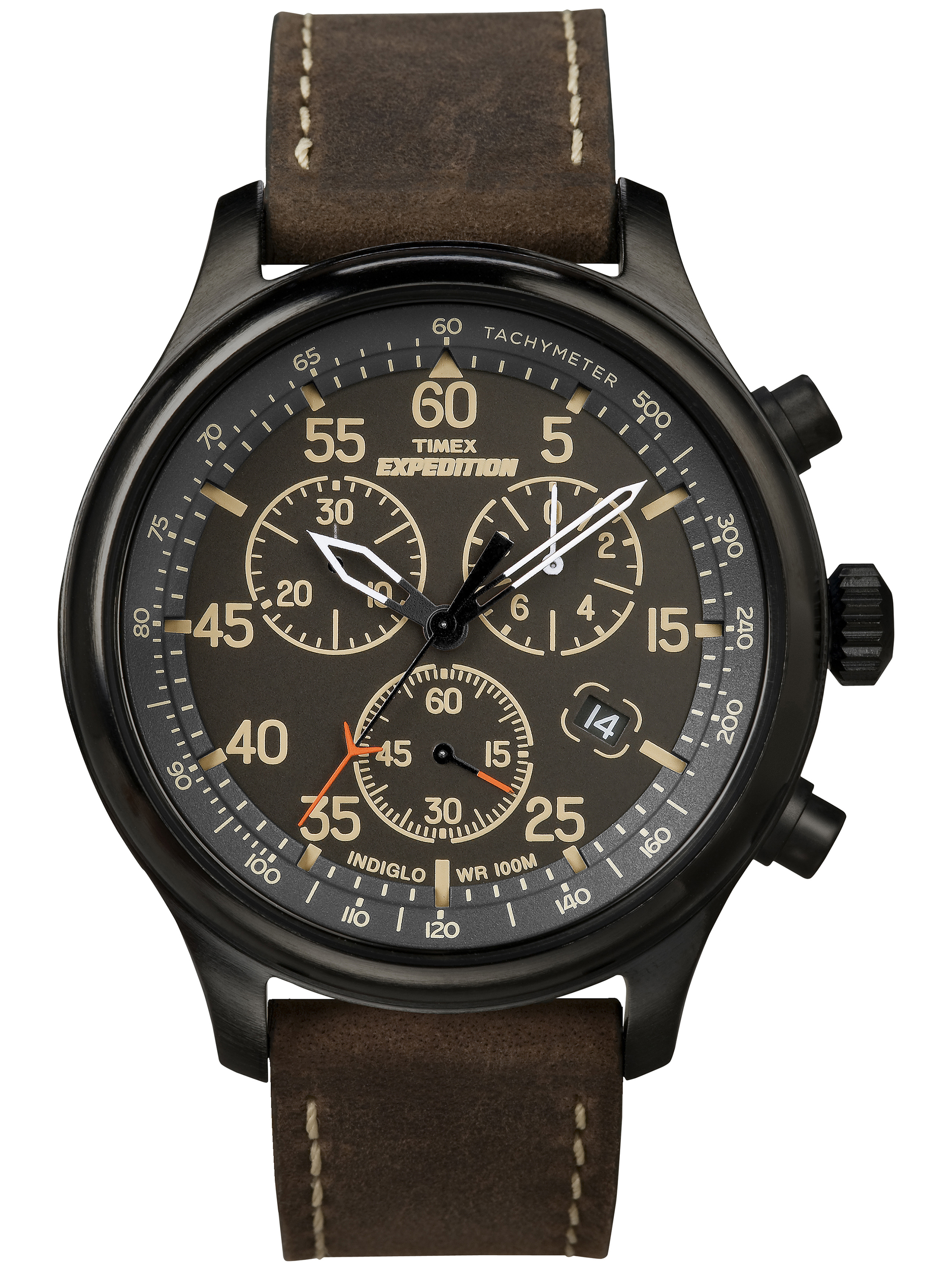 Men's Expedition Field Chronograph Watch, Brown Leather Strap