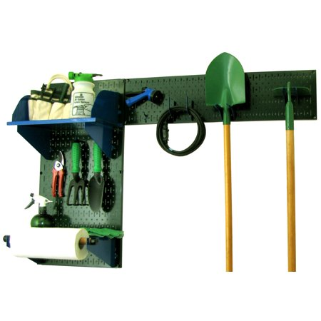 Wall Control Pegboard Garden Tool Board Organizer with Green Pegboard and Blue Accessories