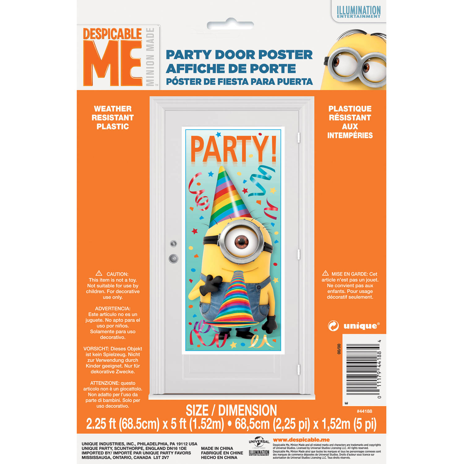 "Despicable Me Minions Door Poster, 60"" x 27"" by Unique Industries"