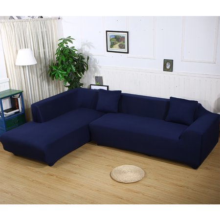Sofa Covers for L Shape, 2pcs Polyester Fabric Stretch Slipcovers + 2pcs Pillow Covers for Sectional sofa L-shape Couch - Solid Color Blue ()