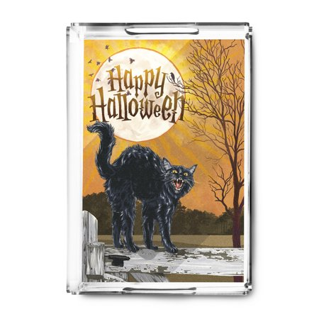 Halloween - Happy Halloween - Black Cat & Moon - Lantern Press Artwork (Acrylic Serving Tray) - Happy Halloween Black Cat
