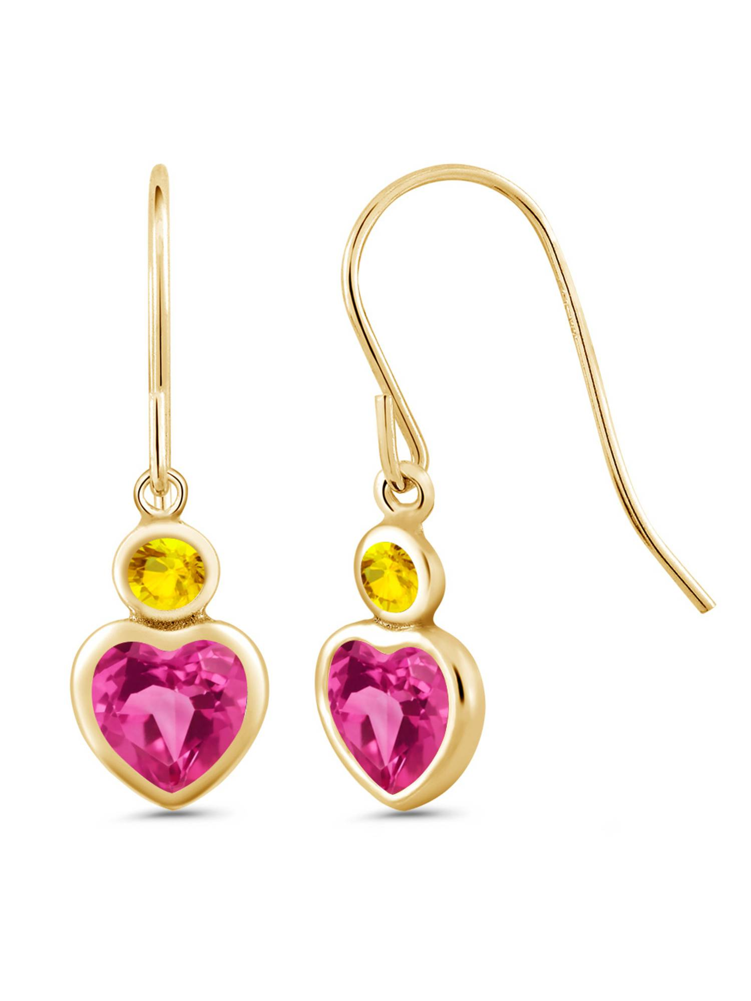 1.46 Ct Pink Created Sapphire Yellow Sapphire 14K Yellow Gold Earrings by