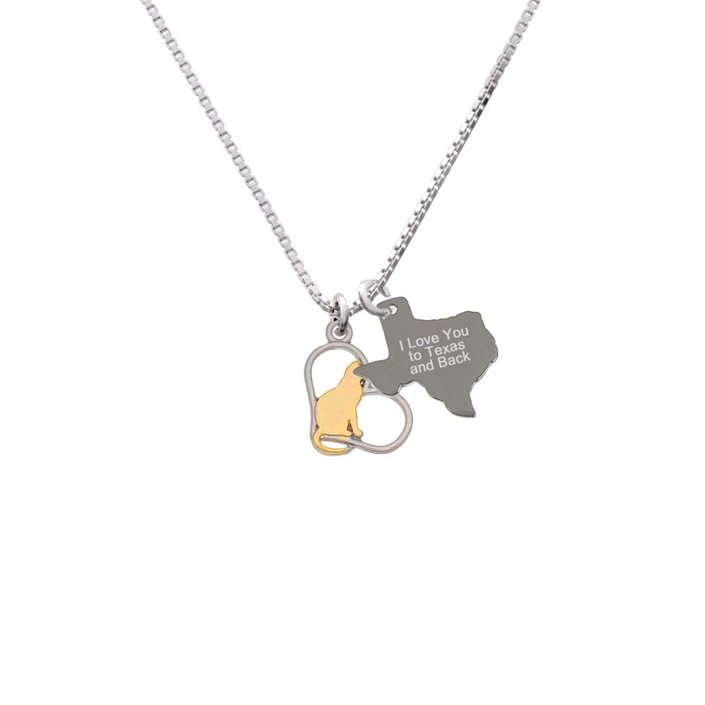 Delight Two-tone Cat Silhouette Heart - I Love You to Tex...