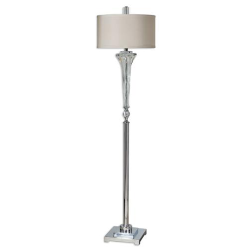 "66"" Polished Nickel, Twisted Glass & Off-White Round Drum Shade Floor Lamp"