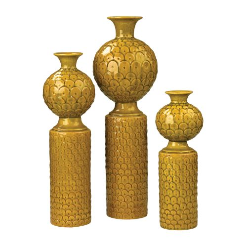 Sterling Industries 152-016/S3 Ceramic Vases In Chartreuse Glaze - Set of Three
