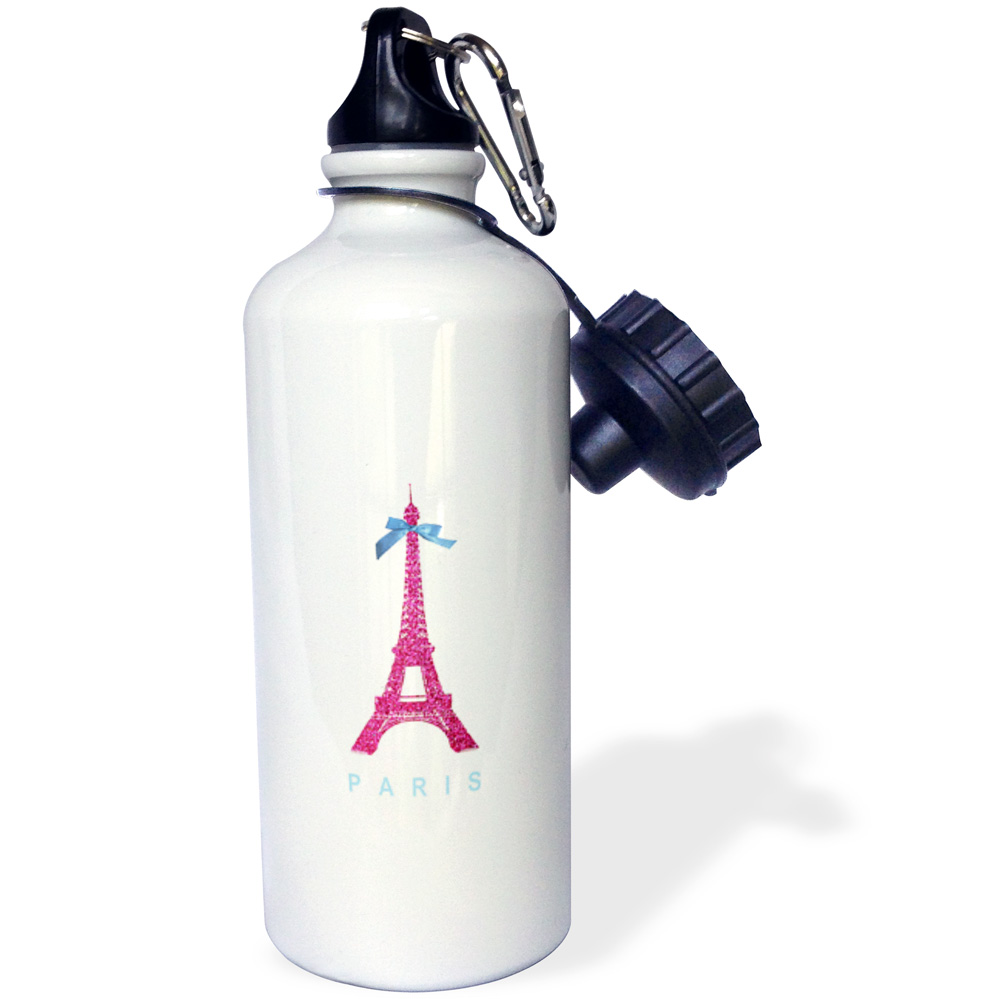 3dRose Hot Pink Eiffel Tower from Paris with girly blue ribbon bow - White stylish Parisian France souvenir, Sports Water Bottle, 21oz