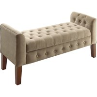 HomePop Velvet Tufted Storage Bench and Settee, Multiple Colors