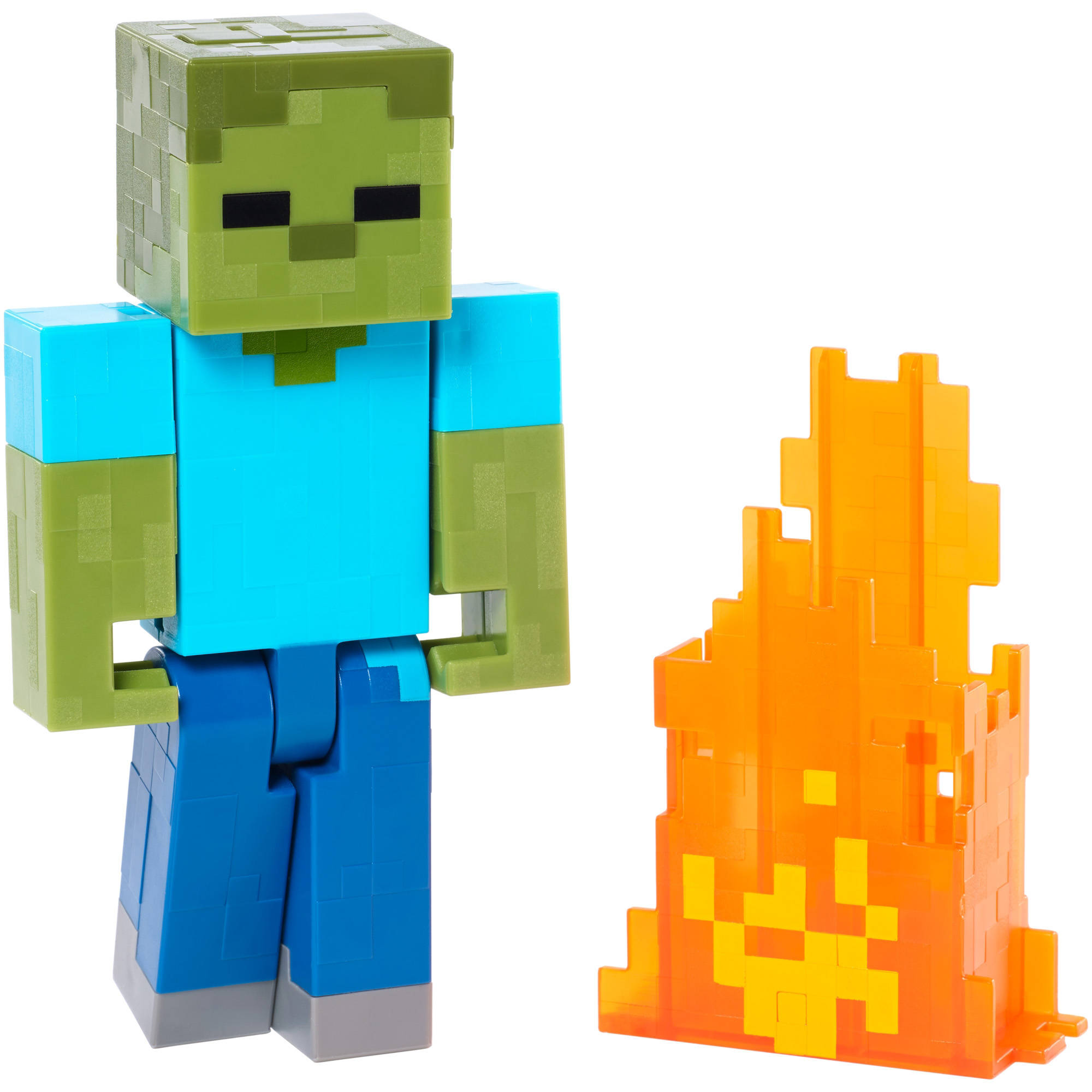 minecraft series 2 zombie with pop out flames action figure