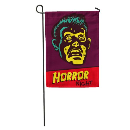 LADDKE Horror Night Halloween Party Movie Event Terrified Vintage Man Face Afraid of Something Creepy Distracted Garden Flag Decorative Flag House Banner 12x18 inch
