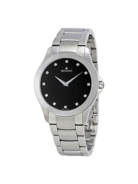 Movado Masino Black Dial Stainless Steel Men's Watch 0607036