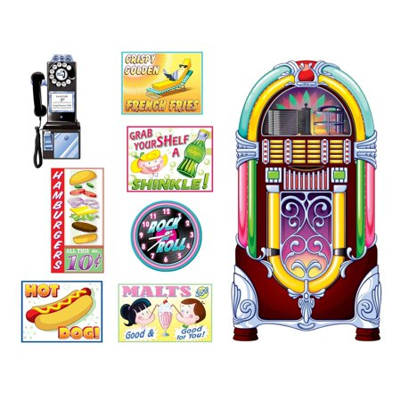 50's Theme Party Ideas (Club Pack of 96 Rocking the 50's Soda Shop Signs and Jukebox Themed Wall Decorations)