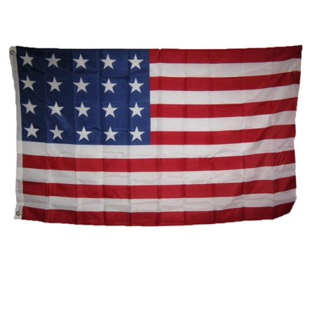 Nylon Eyelet - 3x5 USA American 20 Star Linear 1818 Historical Flag 3'x5' Super Polyester Nylon House Banner Grommets Double Stitched Metal Eyelets For Hoisting Fade Resistant.., By AES,USA