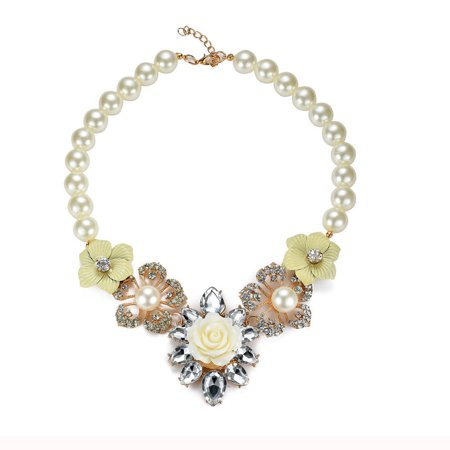 JADA Collections Vintage Colorful Flower Statement Necklace w/ a Crystal-Pearl, Ivory/Yellow Pearl Crystal Agate Necklace