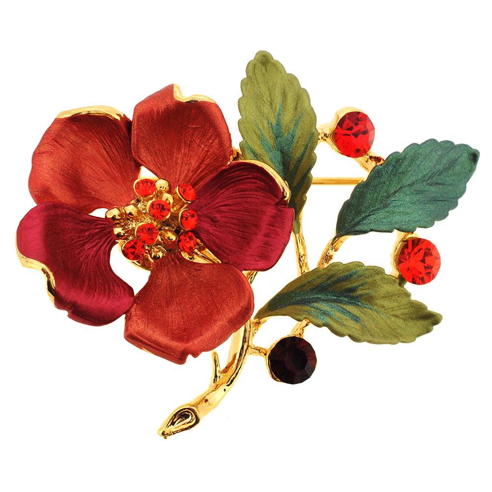 Red Flower Swarovski Crystal Pin Brooch by