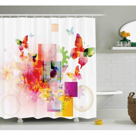 Abstract Shower Curtain, Natural Decor with Flowers Leaves Squares Rounds Circles Artwork Image Print , Fabric Bathroom Set with Hooks, 69W X 84L Inches Extra Long, Multicolor, by Ambesonne