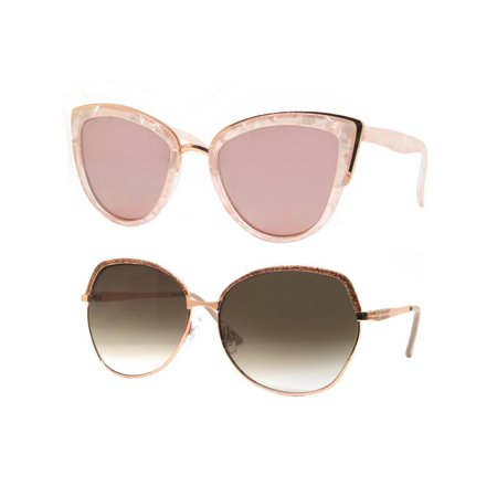 c040b3a48cb Time and Tru Women s Metal Sunglasses 2-Pack Bundle  Cat-Eye Sunglasses and