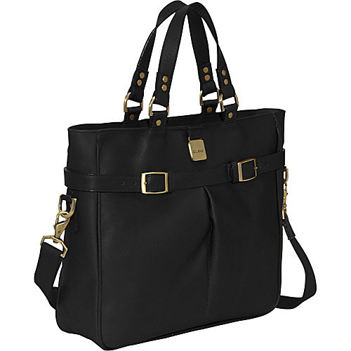 Clava Leather Pleated Buckle Tote