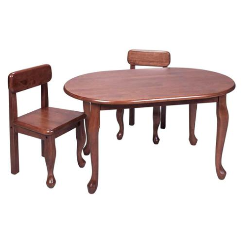 Kids 3 Pc Queen Anne Oval Leg Table & Chair Set - Cherry Finish