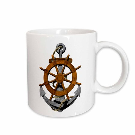 3dRose A classic nautical ship anchor and helm for any boater or sailor. - Ceramic Mug, 11-ounce](Ships Helm)
