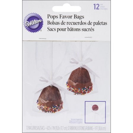 Wilton Clear Cake Pop Treat Bags, 12-Count (Football Treat Bags)